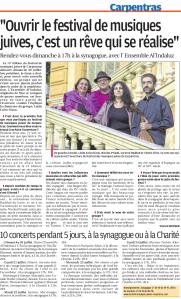 Article dans La Provence du 18 juillet 2014